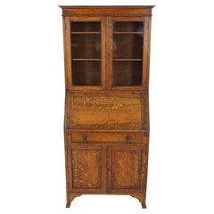 Antique Oak Desk, Drop Front Desk with Bookcase Top, Scotland 1910, B1799