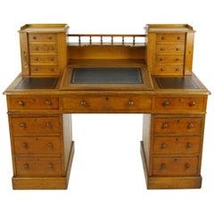 Antique Oak Desk, Slant Front Desk, Victorian Dickens Desk, England, 1880