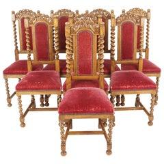 Antique Oak Dining Chairs, Barley Twist, Antique Furniture, American 1920, B2097