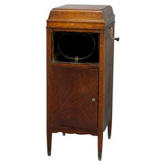 Antique Oak Edison Floor Model Cylinder Phonograph, Circa 1910