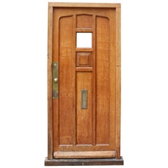 Antique Oak Exterior Door With Frame
