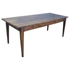 Antique Oak Farm Table, Two Drawers