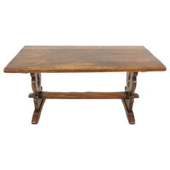 Antique Oak Farmhouse, Trestle, Refectory Table, Scotland 1920, B2145