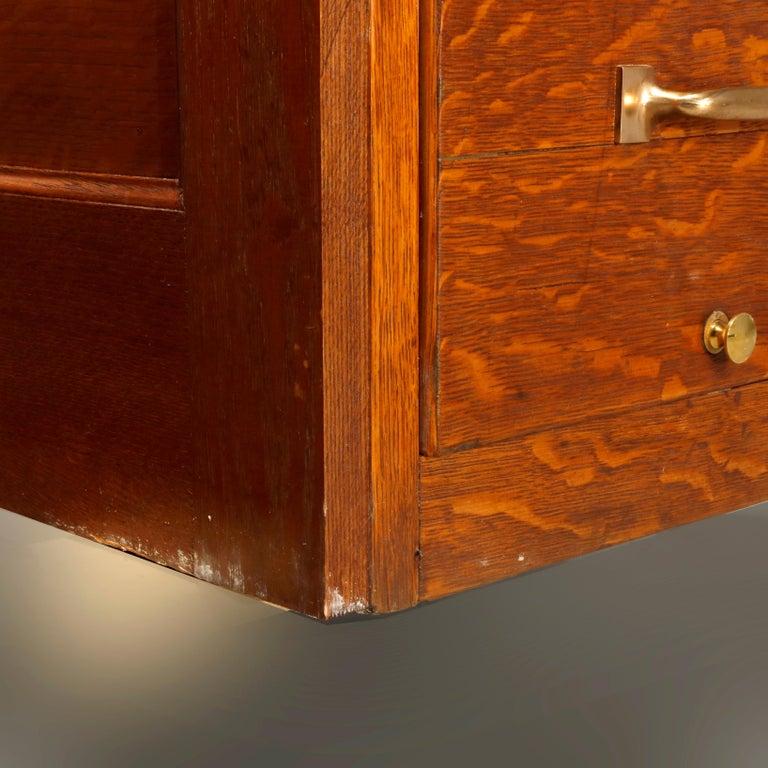 Antique Oak Five-Drawer Paneled Filing Cabinet, circa 1900 4