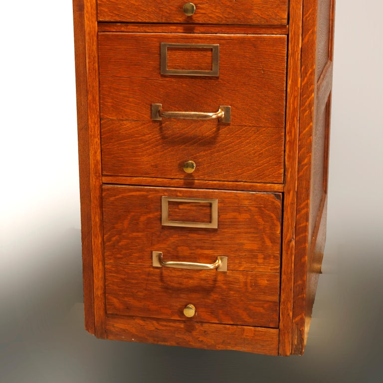 North American Antique Oak Five-Drawer Paneled Filing Cabinet, circa 1900