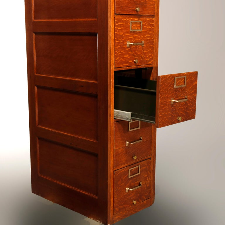 Antique Oak Five-Drawer Paneled Filing Cabinet, circa 1900 In Good Condition In Big Flats, NY