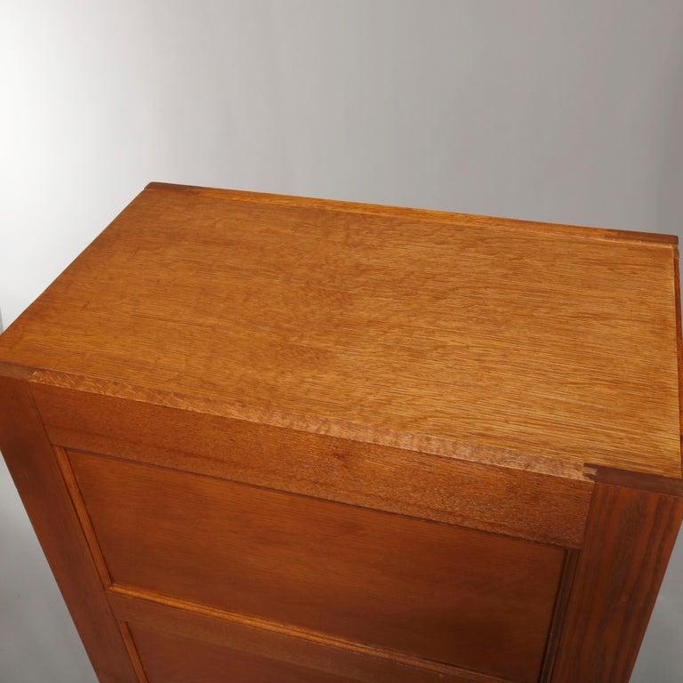 20th Century Antique Oak Five-Drawer Paneled Filing Cabinet, circa 1900