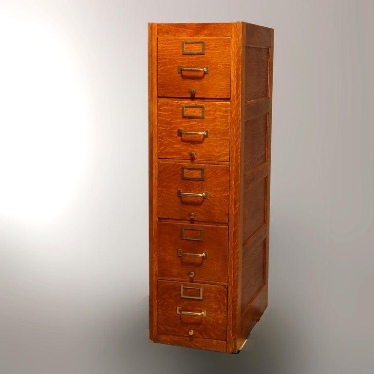 Metal Antique Oak Five-Drawer Paneled Filing Cabinet, circa 1900