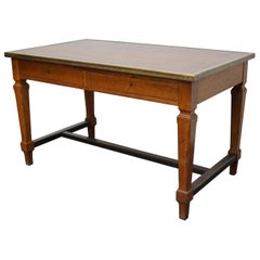 Antique Oak French Art Deco Style Desk or Writing Table, 1920s