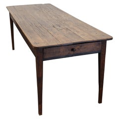 Antique Oak French Farmhouse Dining Table, 19th Century