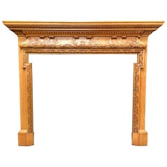 Antique Oak Georgian Style Carved Wood Fireplace Surrounds