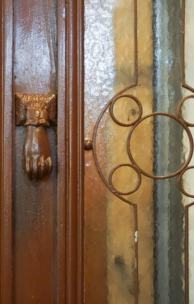Antique Oak, Glass and Iron Work Door with Transom In Good Condition For Sale In Dallas, TX