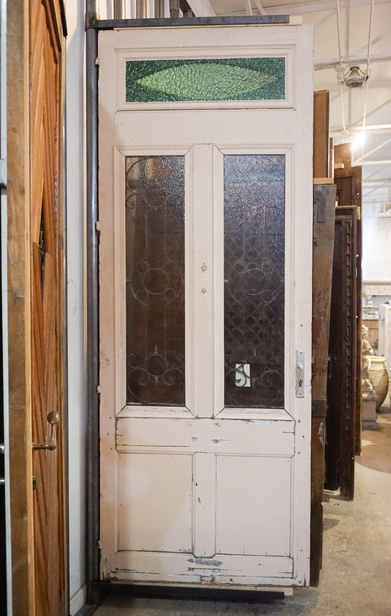 19th Century Antique Oak, Glass and Iron Work Door with Transom For Sale