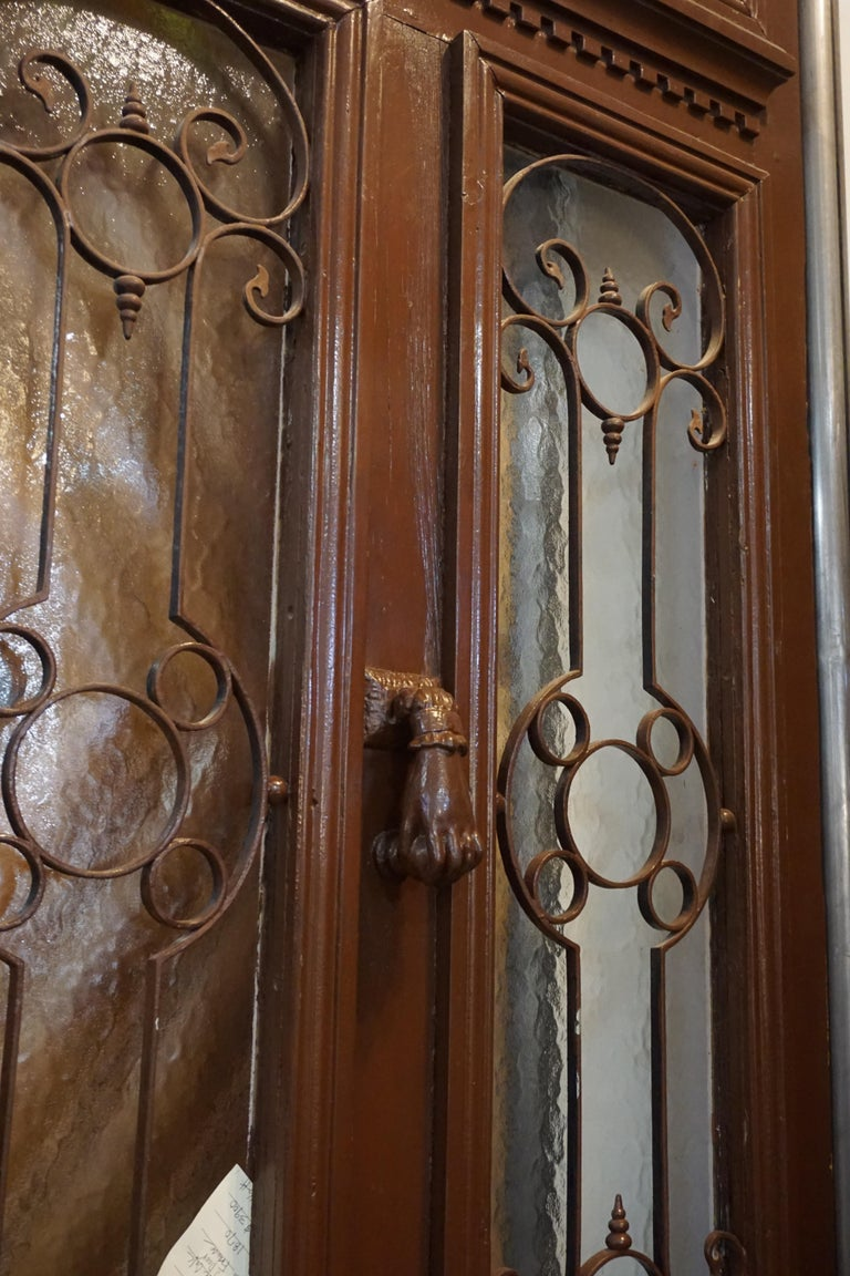 Antique Oak, Glass and Iron Work Door with Transom For Sale 3