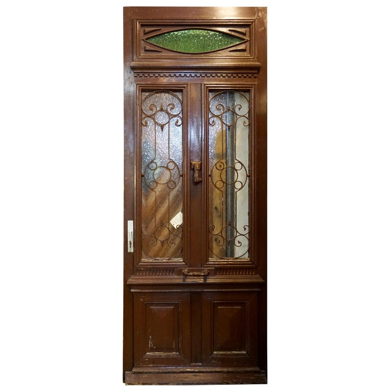 Antique Oak, Glass and Iron Work Door with Transom For Sale