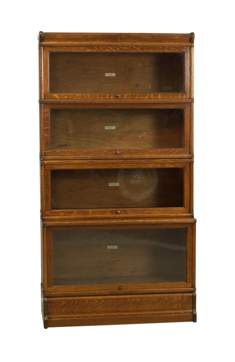 Antique Oak Globe Wernicke Bookcase With Glazed Doors In Four Sections At 1stdibs