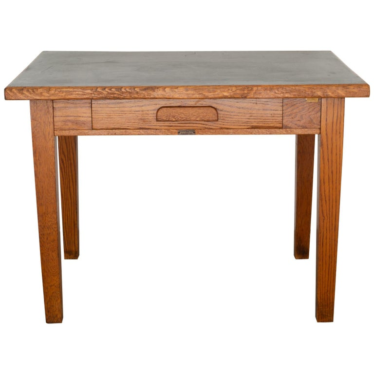 Antique Oak Gunnlino Top Desk With Inlaid Black Linoleum Circa 1920