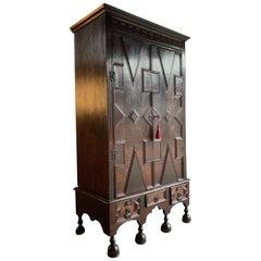 Antique Oak Hall Cupboard Cabinet George II, circa 1750 18th Century