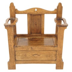 Antique Oak Hall Seat, Arts & Crafts, with Umbrella Stand, Scotland 1910, B2010