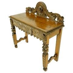 Antique Oak Hall Table, Victorian Carved Oak Side Server, Scotland 1880, B1876
