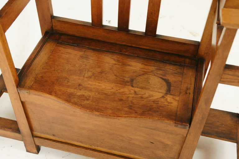 Antique Oak Hall Tree, Arts & Crafts, Double Sided, Seat, Scotland, 1900, B1715 For Sale 4