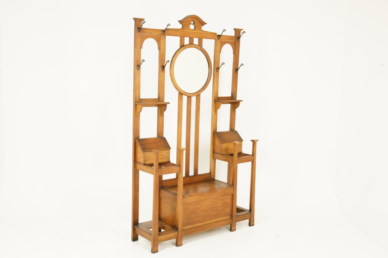 Scottish Antique Oak Hall Tree, Arts & Crafts, Double Sided, Seat, Scotland, 1900, B1715 For Sale