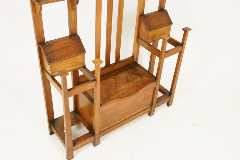 Antique Oak Hall Tree, Arts & Crafts, Double Sided, Seat, Scotland, 1900, B1715 In Good Condition For Sale In Vancouver, BC