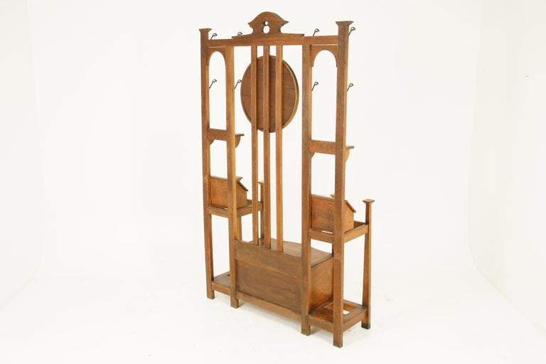 Early 20th Century Antique Oak Hall Tree, Arts & Crafts, Double Sided, Seat, Scotland, 1900, B1715 For Sale