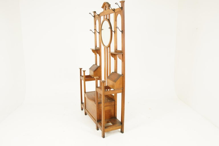 Antique Oak Hall Tree, Arts & Crafts, Double Sided, Seat, Scotland, 1900, B1715 For Sale 1
