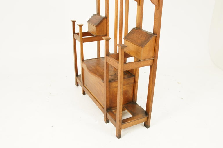 Antique Oak Hall Tree, Arts & Crafts, Double Sided, Seat, Scotland, 1900, B1715 For Sale 3