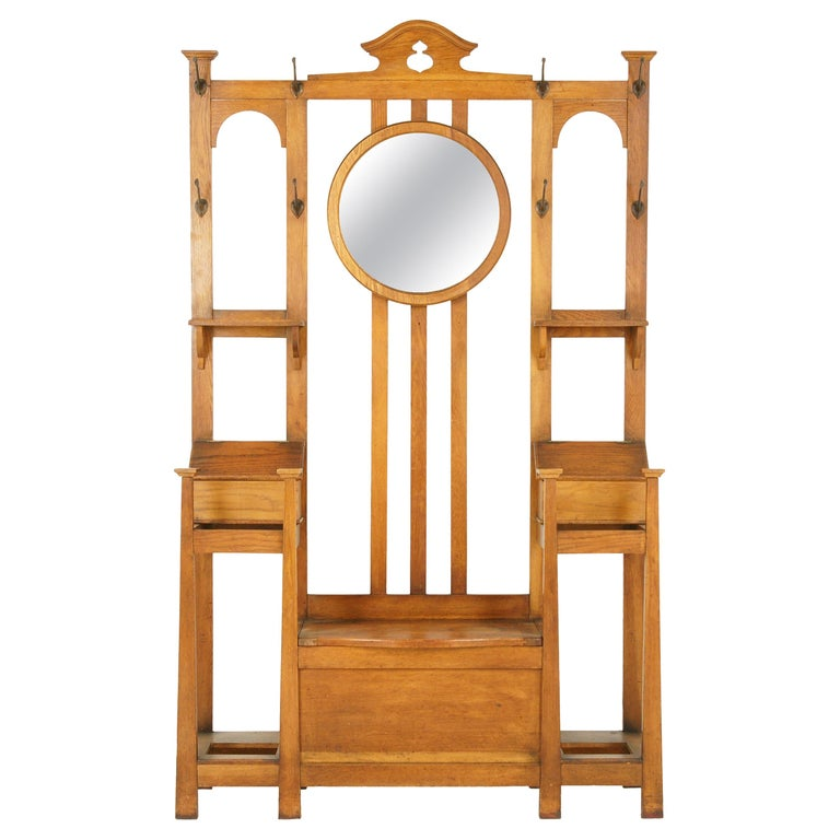 Antique Oak Hall Tree, Arts & Crafts, Double Sided, Seat, Scotland, 1900, B1715 For Sale