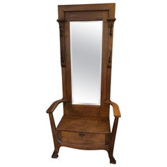Sold-Antique Oak Hall Tree with Mirror