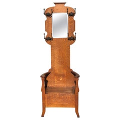 Antique Oak Hall Tree with Mirror