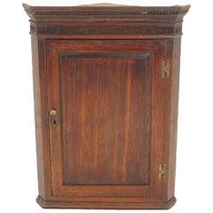 Antique Oak Hanging Corner Cabinet, Scotland 1800, B2116