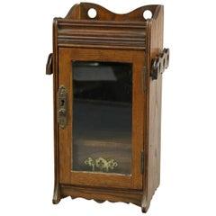 Antique Oak Humidor Single Drawer Display Box with Pipe Racks, circa 1890