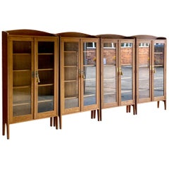 Antique Oak Library Bookcases Set of Four German Aesthetic Movement circa 1920