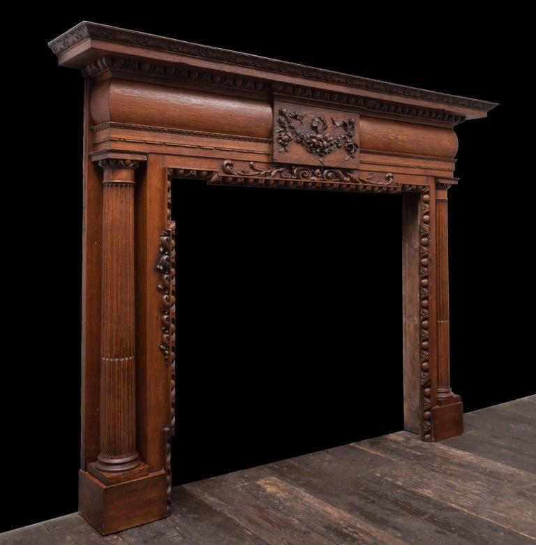 English Antique Oak Mantelpiece For Sale