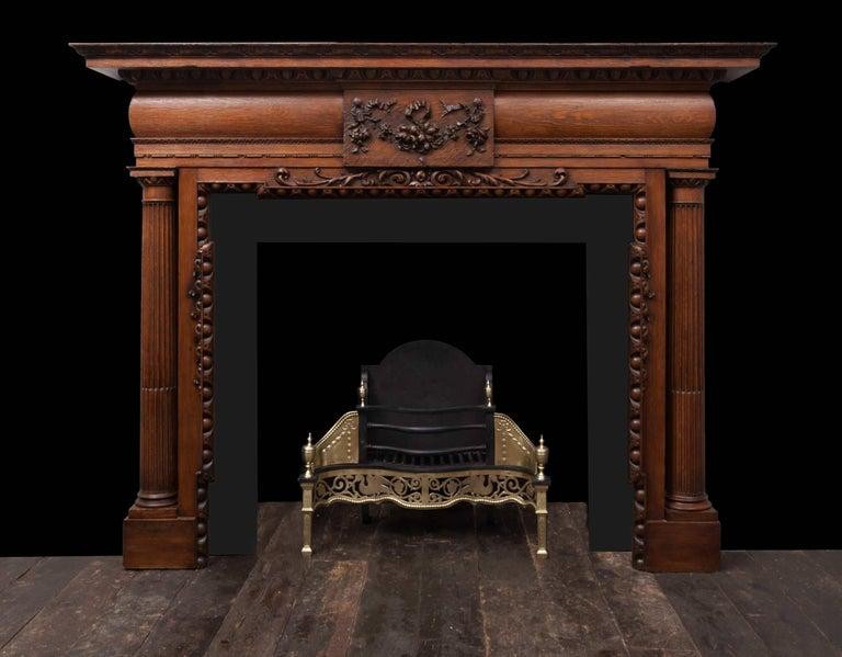 Carved Antique Oak Mantelpiece For Sale