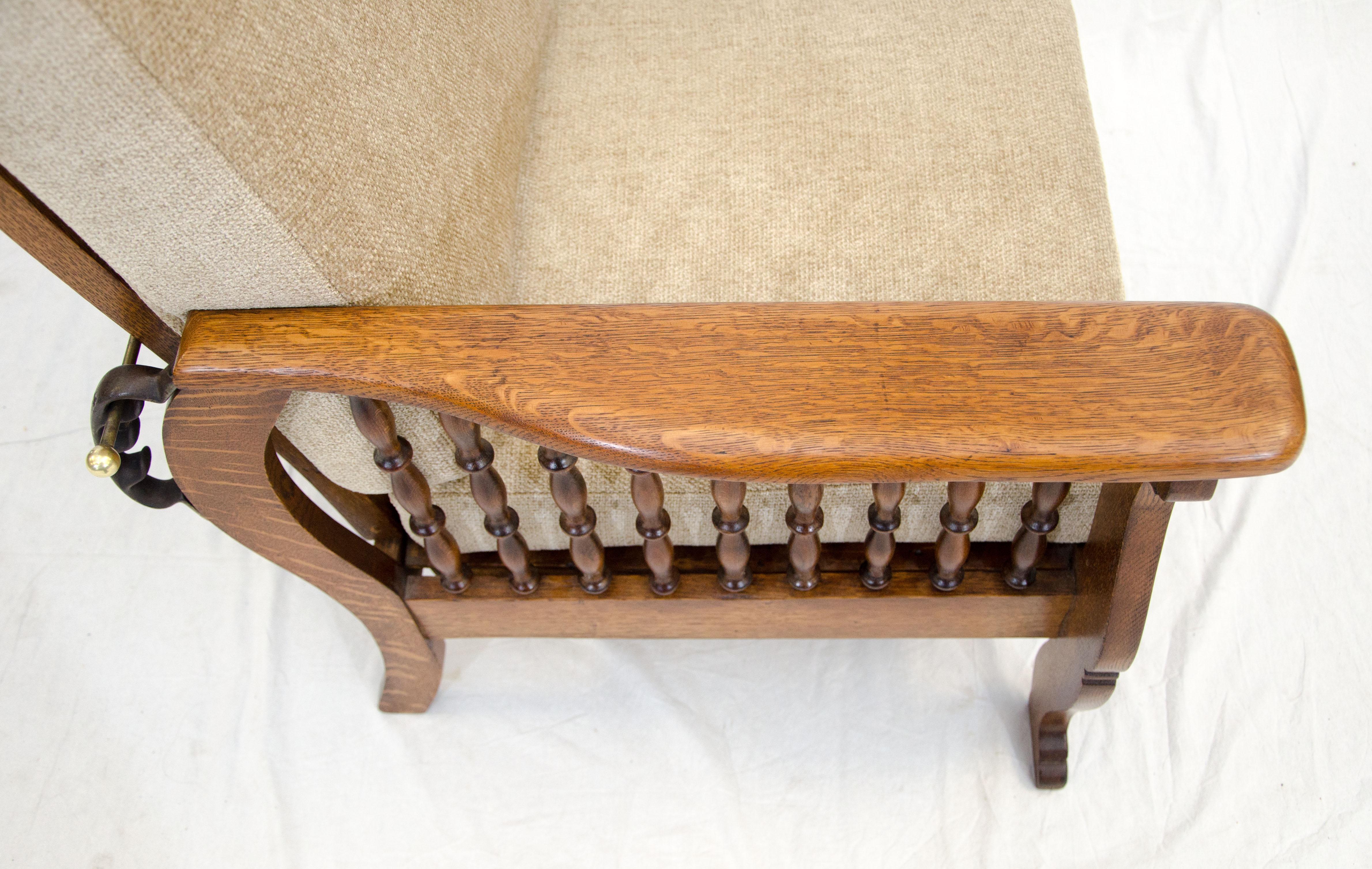 Antique Oak Morris Reclining Chair, Quarter Sawn Oak