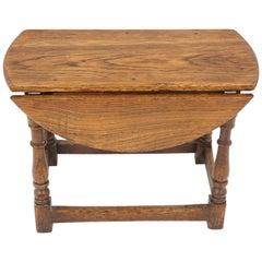 Antique Oak Petite Drop-Leaf Table, Gateleg Table, Scotland 1920, B2003