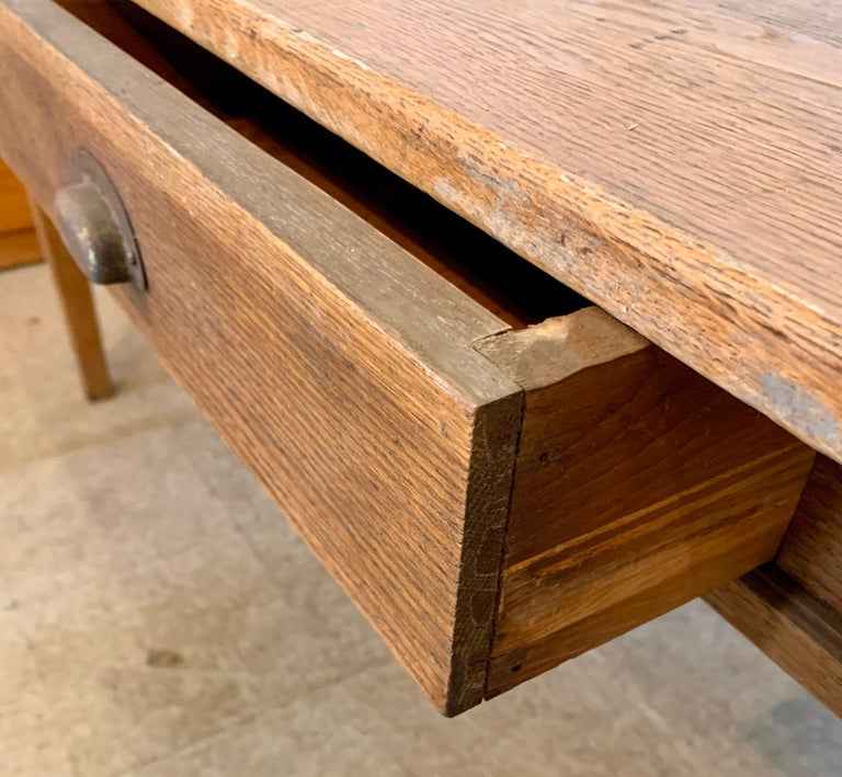 American Antique Oak Plank Farmhouse Dining Table For Sale