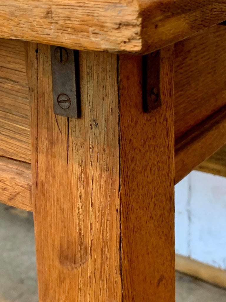 Mid-19th Century Antique Oak Plank Farmhouse Dining Table For Sale