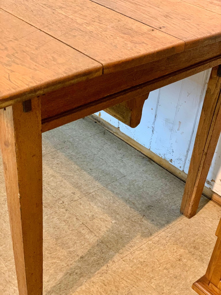 Antique Oak Plank Farmhouse Dining Table For Sale 1