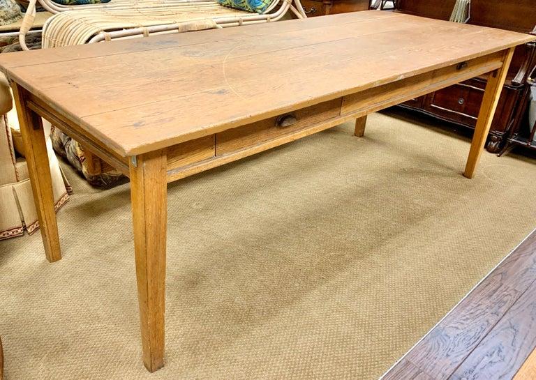 Antique Oak Plank Farmhouse Dining Table For Sale 2