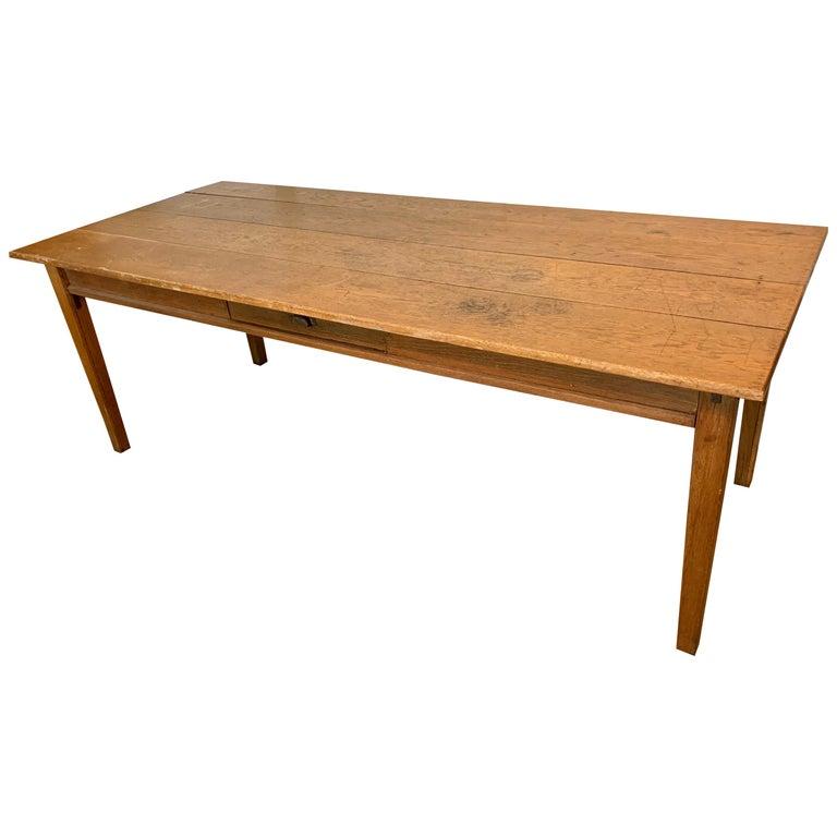 Antique Oak Plank Farmhouse Dining Table For Sale