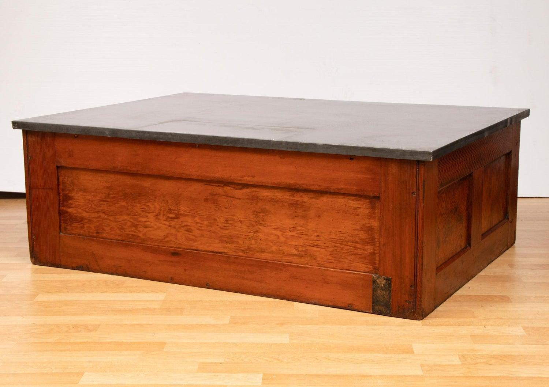 Antique Oak Plans Map Chest Coffee Table With Zinc Top