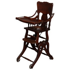 Antique Oak Pressed Carved Adjustable Conversion High Chair Rocker, circa 1890