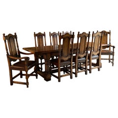 Antique Oak Refectory Dining Table and Eight Chairs 19th Century, circa 1890
