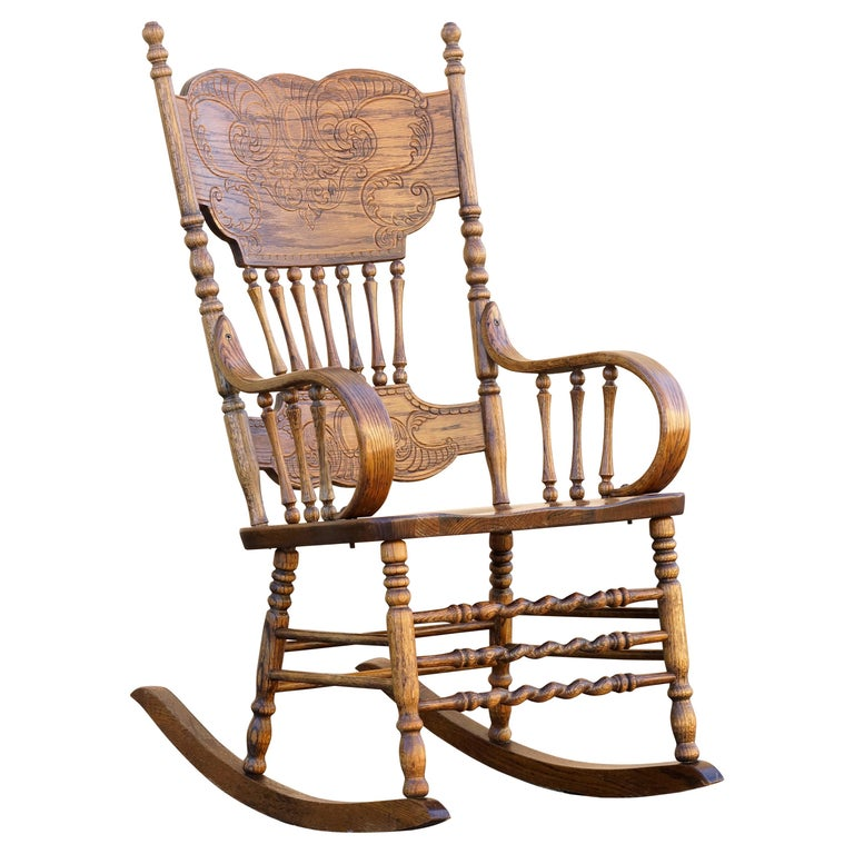 Antique Oak Rocking Chair with Pressed Back For Sale - Antique Oak Rocking Chair With Pressed Back For Sale At 1stdibs