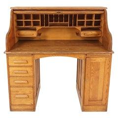 Antique Oak Roll Top Desk, Double Pedestal, American 1900, B2515